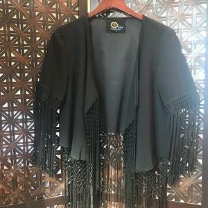 Blue Life Fringe Short Kimono Jacket
